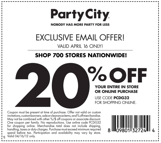 How to use a Party City coupon Party City offers amazing savings on your favorite costumes and party supplies. The online store offers seasonal promotions and coupons such as 50% off selected items and costumes for Halloween. There are also weekly online ads that offer great discounts on many Party City .