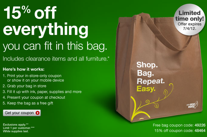 Staples Coupon  Free Bag + 15% off Everything in The Bag   Living ... ba261158b0