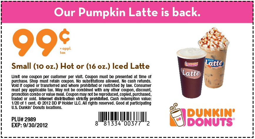 graphic regarding Dunkin Donuts Coupons Printable named Dunkin Donuts Coupon - Residing Loaded with CouponsLiving Abundant