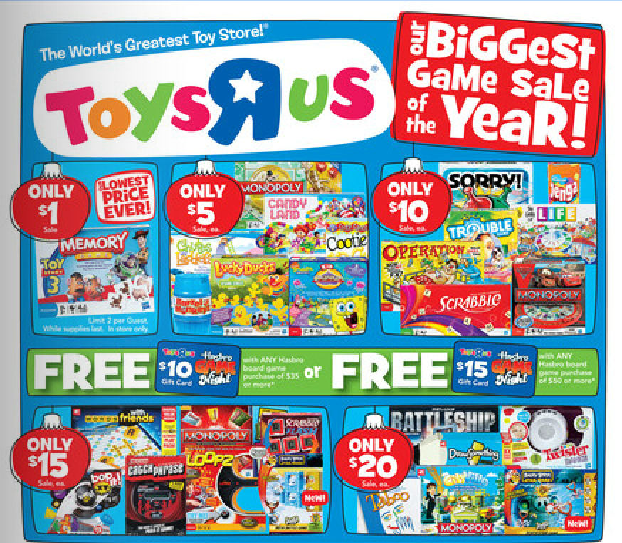 Toys R Us Hasbro Game Sale 1 Games Gift Card Offers Rebates