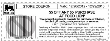 picture relating to Food Lion Printable Coupons named Food stuff Lion Discount codes $5 off $5 Order at Food items Lion Dwelling