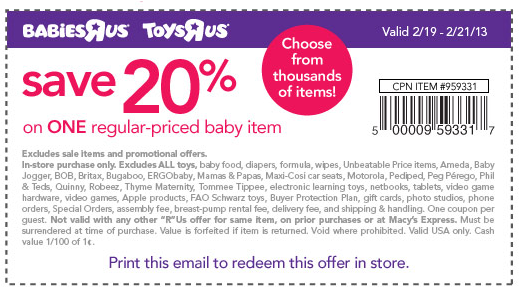 photograph regarding Babies R Us Coupons Printable called Help save at Toys \