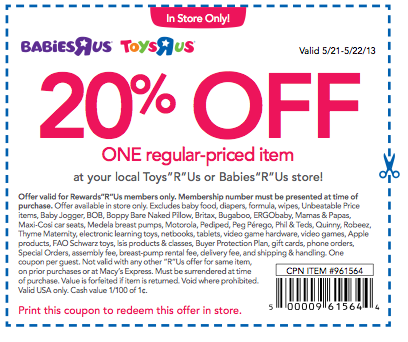 Toys R Us Coupon New 20 Off Toys R Us Or Babies R Us