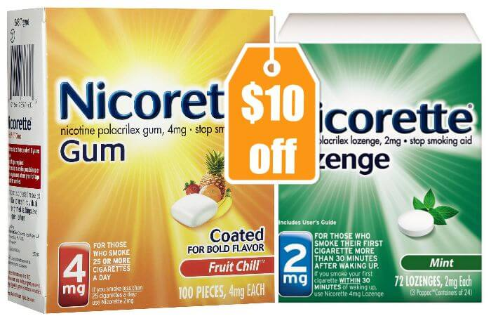image relating to Nicorette Printable Coupon known as Contemporary $10/1 Nicorette Gum or Nicorette Lozenge Coupon + Loads