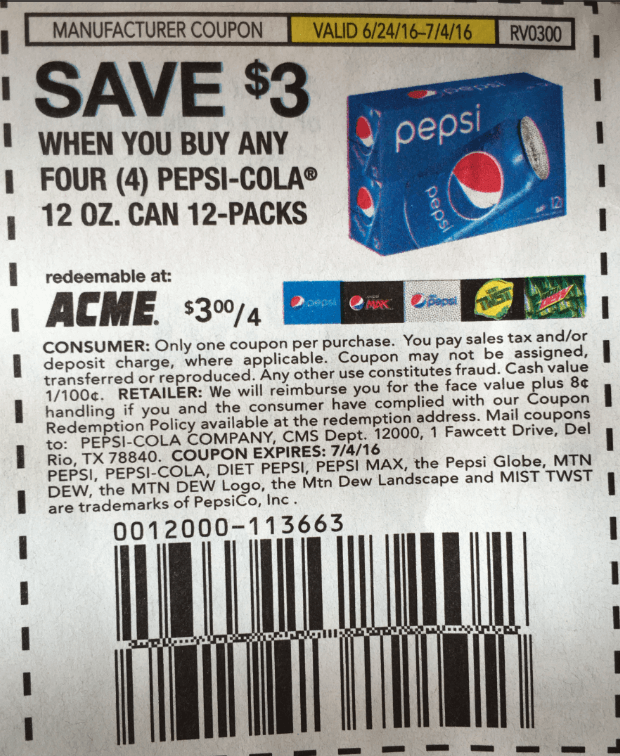 Buy Manufacturer Coupons >> Pepsi 12 Pack Cans As Low As 1 58 At Shoprite Living Rich