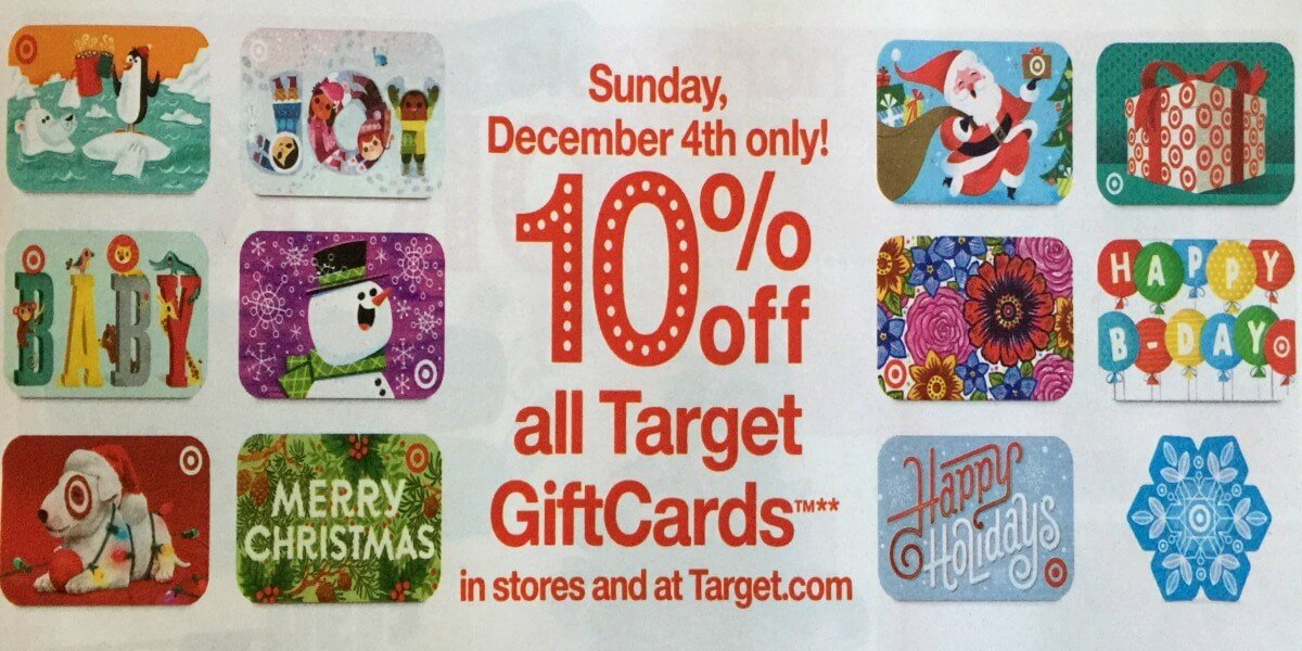 Rare! Save 10% Off Target Gift Cards Up to $300 {12/4 Only!}Living ...