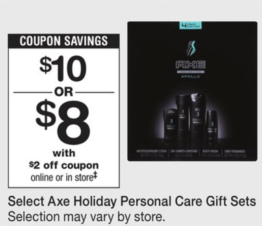 graphic relating to Axe Coupons Printable called Fresh new Coupon! Axe Trip Present Sets Just $5 at Walgreens