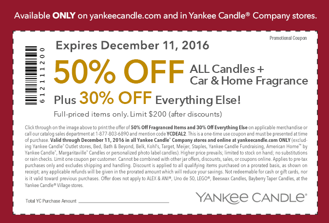 Yankee Candle Coupon: 50% OFF Candles, Car and Home