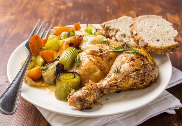 Slow Cooker Rosemary-Garlic Chicken Leg Quarters