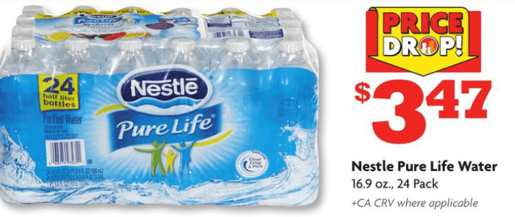 Nestlé Pure Life Natural Spring Water. Print. Nestlé Pure Life Natural Spring Water. 24 x mL. By Nestlé Pure Life. Sold and shipped by. 5 Reviews /5 stars, based on 5 reviews. What is the price in-store? Change your postal code to see more in-store availability: Update. Featured Products. Skip product carousel. Featured Products.5/5(5).