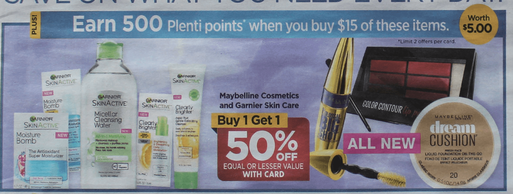 d8f4b33ffbd ... Rite Aid will have Garnier Skin Care and Maybelline Cosmetics on sale  Buy One Get One 50% Off. Also, when you spend $15 on Garnier Skin Care and  ...