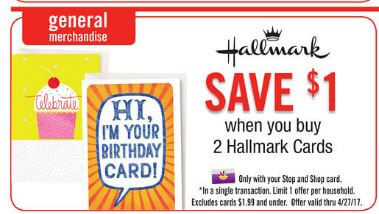 New coupon hallmark cards just 1 at stop shop giant and we have this awesome new 12 hallmark greeting cards 1 printable coupon available we can pick up 2 of the 2 cards use our coupon and receive a 1 m4hsunfo