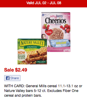Now through 7/8, CVS has select Cheerios 11.1 – 13.1 oz. boxes on sale for just $2.49! Included in the deal is Very Berry Cheerios.