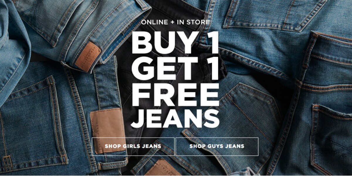 adb94d8f2 Aeropostale Buy 1 Get 1 Free Guy's and Girl's Jeans + Extra 15% Off