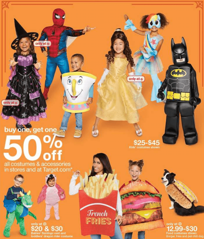 target shoppers - buy 1, get 1 50% off all halloween costumes