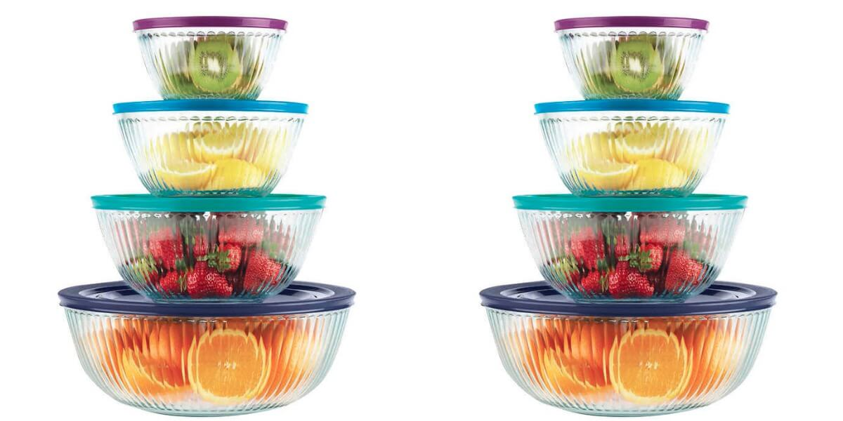 Costco Members Pyrex 8 piece Sculpted Glass Mixing Bowl Set 1099