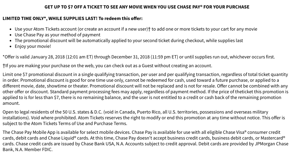 Atom Movie Tickets: $7 Off any Movie Ticket w/ Chase Pay