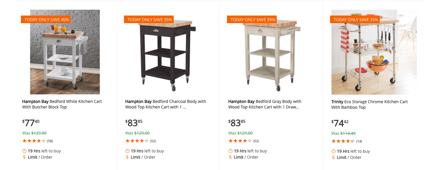 Home Depot: Up to 40% off Select Kitchen CartsLiving Rich ...