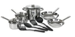 Bella 12-Pc. Stainless Steel Cookware Set just $29.96 (Reg. $119.99)