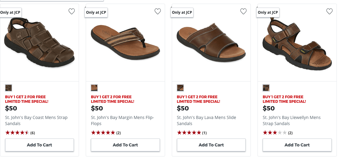 7ecfb5c81e13 JCPenney Buy 1 Pair of Men s s Sandals   Flip Flops Get 2 FREE. Get THREE  pairs for as low as  50 or just  16.66 each. Ship to store.