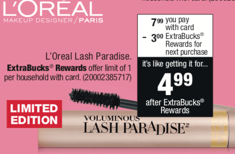 ecdb3b72a53 Now through 6/9, CVS has LOreal Lash Paradise mascara on sale for $7.99  (regularly $9.99). Plus, you will receive $3 Extra Care Bucks when you buy  1 (limit ...