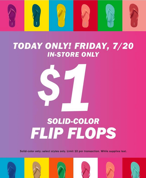 db5a1ac823c6 SURPRISE!  1.00 Old Navy Flip Flop Sale Today! (In-Store Only)Living ...