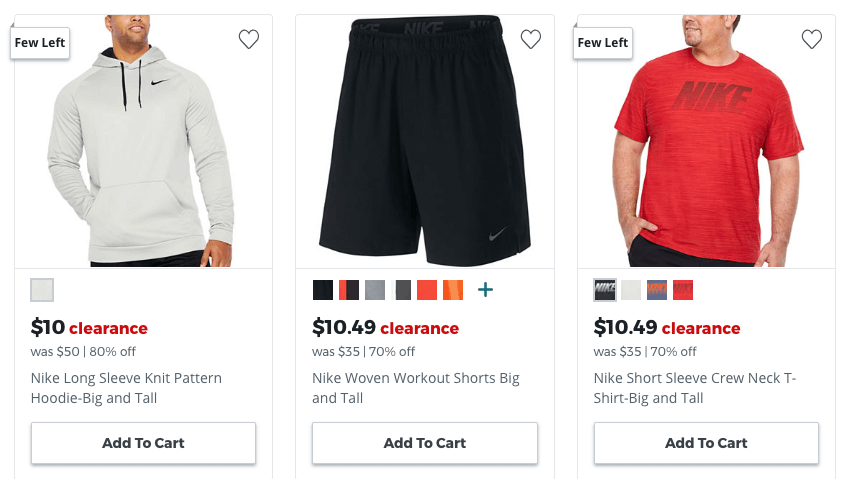 8ab56290 JCPenney: Up to 80% Off Nike Big and Tall Men's Clearance, Shorts $10.  Pickup in Store for free $25+ Nice to finally have a deal for the big boys!