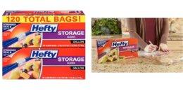 120 Hefty Slider Plastic Food Storage Bags $8.07 {$.07/Bag}