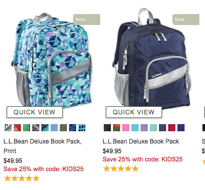 f576a0bf12 You can use the code SAVE25 for 25% OFF sitewide PLUS use code KIDS25 for  an additional 25% Off these backpacks at L.L. Bean + Get Free Shipping   50+! If ...