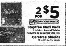 Up to $1 50 Money Maker on Stayfree Maxi Pads & Carefree