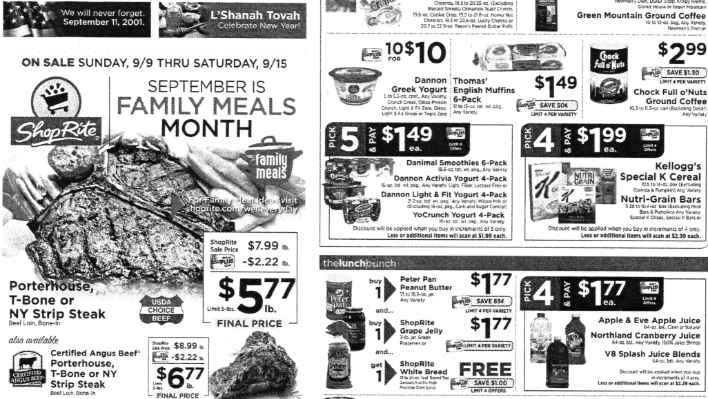 ShopRite Preview Ad for the week of 9/9/18