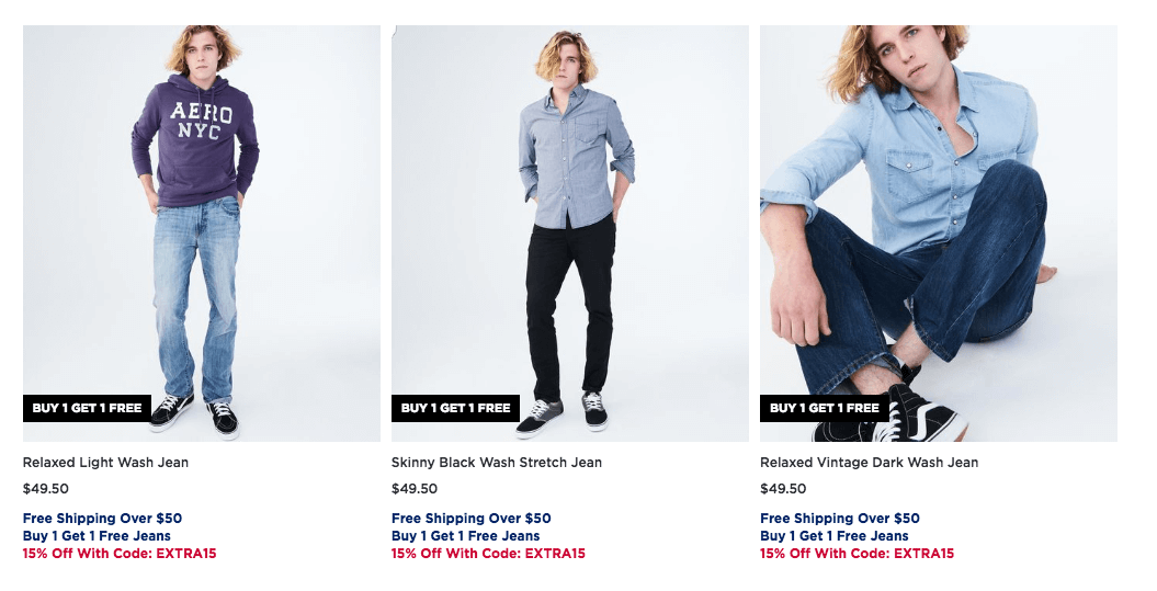 2055fd207 Aeropostale Buy 1 Get 1 Free Guy's and Girl's Jeans + Extra 15 ...