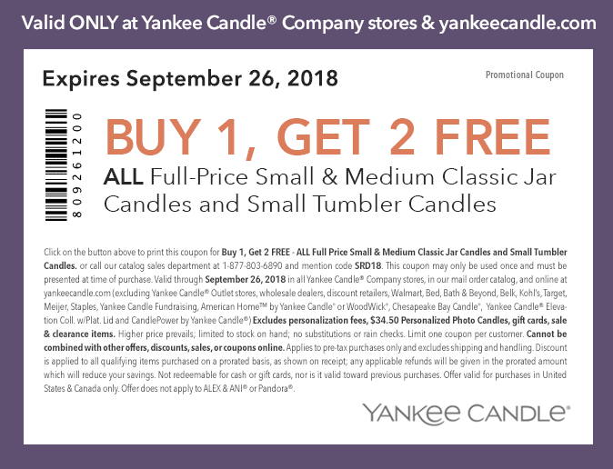 photograph about Yankee Candle Printable Coupons called Purchase 1 Attain 2 Absolutely free Minimal or Medium Jar and Little Tumbler