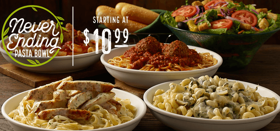 Olive Garden Has A Crazy New Breadstick Creation: Never Ending Pasta Bowl Starts At $10.99 At Olive Garden