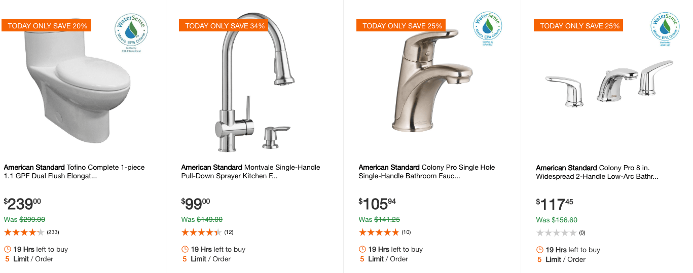Home Depot: Up to 34% Off Select American Standard Bath and Kitchen ...