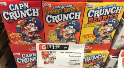 Quaker Life & Cap n Crunch Cereals Just $0.49 + More at ShopRite! {Ibotta Rebate}