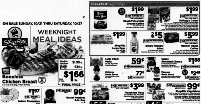 ShopRite Preview Ad for the week of 10/21/18