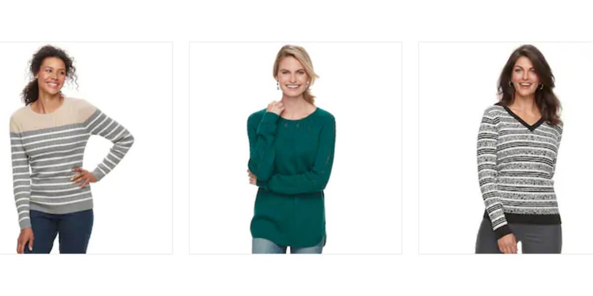 Kohl\u0027s Women\u0027s, Juniors and Plus Size Sweaters $7.99 (Reg