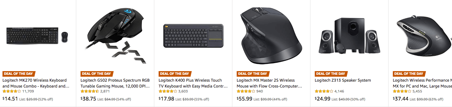 Up to 63% Off Logitech PC Accessories Keyboards, Mice, and