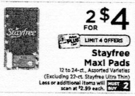 2 FREE Stayfree Maxi Pads ShopRite! {11/25-Ibotta Rebate