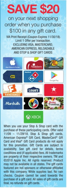 aa907e474 HOT! Gift Card Deal Up to  30 in Free Groceries for Stop   Shop ...
