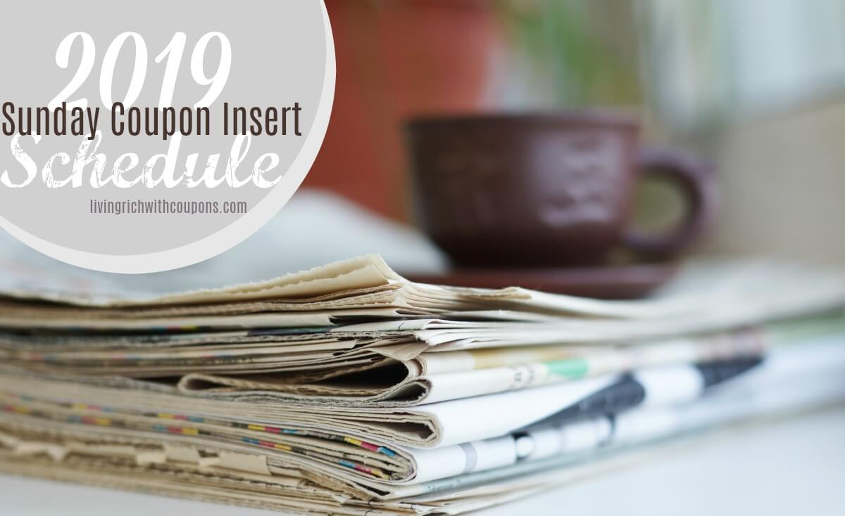 2019 Sunday coupon insert schedule