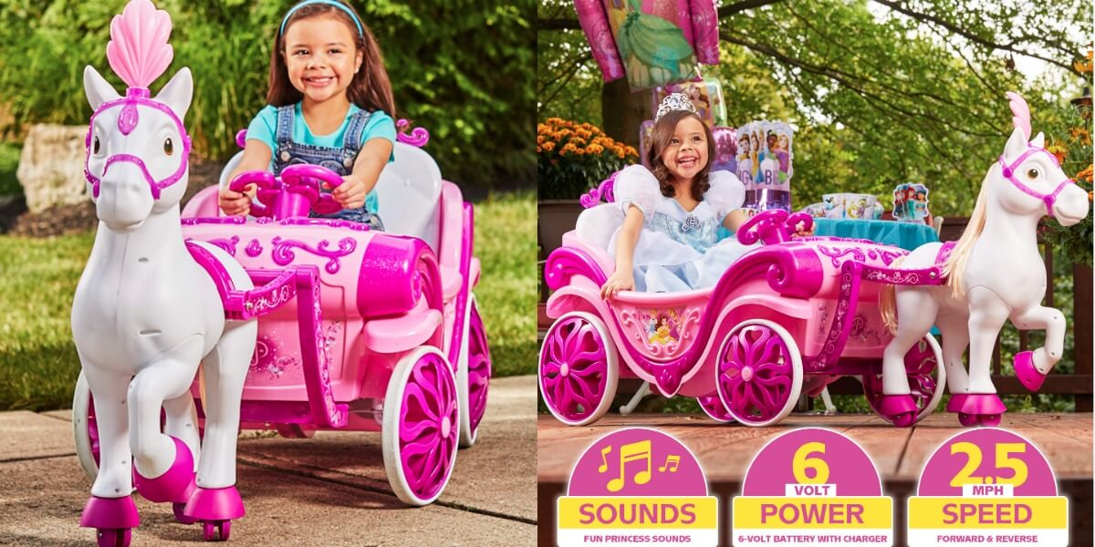 Disney Princess Royal Horse And Carriage Girls 6v Ride On Toy 98