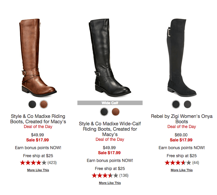 57a221b23d6 Macy s Women s Boots  14.99 (Reg  69.50) at Macy s. Add a beauty item to  get free shipping or free shipping  25+ or free store pick up. Sizes going  Fast!