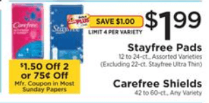 2 Better Than FREE Stayfree Maxi Pads at ShopRite! {1/6