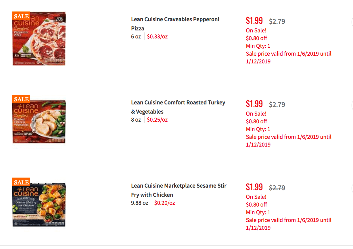 Lean Cuisine Coupons January 2019
