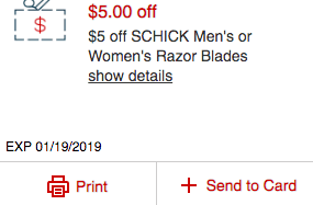 Schick Coupons January 2019