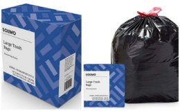 Stock Up Price! Amazon Brand Solimo Multipurpose Drawstring Trash Bags, 30 Gallon, 50 Count