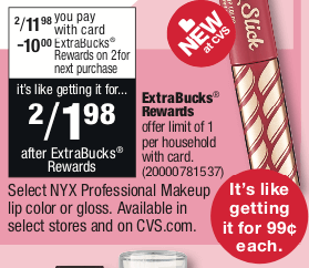 Now Through 2 16 CVS Has NYX Professional Makeup Lip Color Or Gloss On Sale 1198 Price Mb2 Plus You Will Receive 10 Extra Care Bucks When
