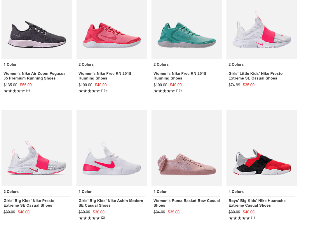 b5955ee7e521 Finishline Additional 50% off Select Clearance Shoes - Nike
